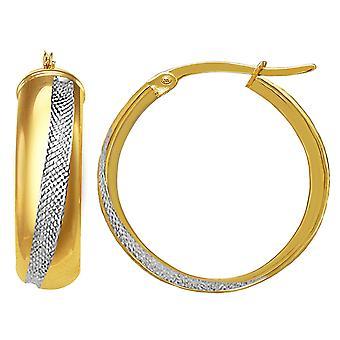 14K 2 Tone Gold Round Tube Hoop Earrings, Diameter 20mm