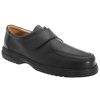 Roamers Mens Superlite Wide Fit Touch Fastening Leather Shoes