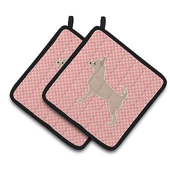 Каролинских сокровища BB3650PTHD чихуахуа клетчатый розовый пара прихватки