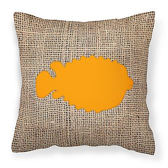 أسماك-السمكة المنتفخة الخيش ونسيج قماش برتقالي وسادة ديكور BB1016