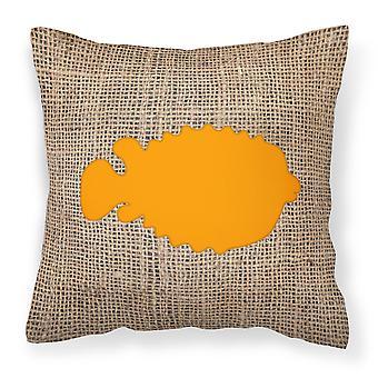 Fish - Blowfish Burlap and Orange   Canvas Fabric Decorative Pillow BB1016