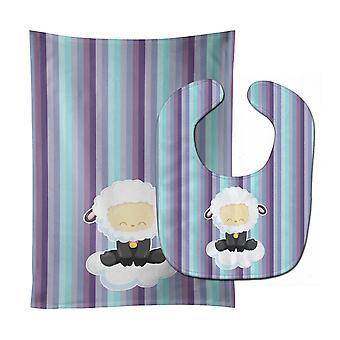 Carolines schatten BB6875STBU schapen op Cloud Baby Slabbetje & Burp doek
