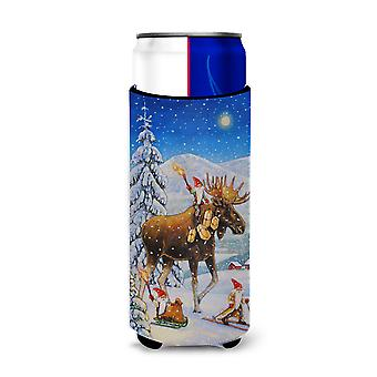 Christmas Gnome riding Reindeer Ultra Beverage Insulators for slim cans