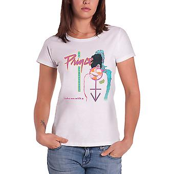 Prince T Shirt Take Me With U new Official Womens Skinny Fit White
