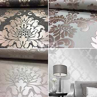 Fine Decor Quartz Damask Wallpaper Luxury Textured Vinyl Glitter 3 Colours