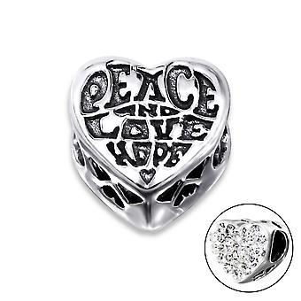 Heart Love - 925 Sterling Silver Jewelled Beads
