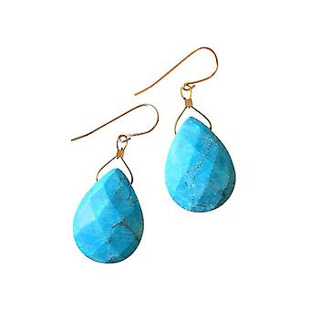Gemshine - ladies - earrings - gold plated drop - turquoise - - 2 cm - Blue - faceted