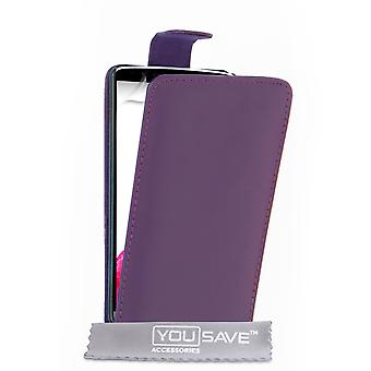 Yousave Accessories LG G3 Leather-Effect Flip Case - Purple