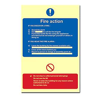 ASEC Photoluminescent Fire Action Procedure Sign 200mm X 300mm