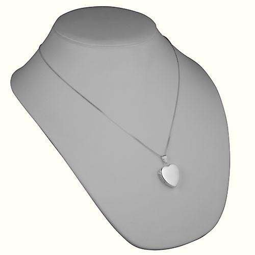 Silver 24x20mm plain heart shaped Locket with Curb chain