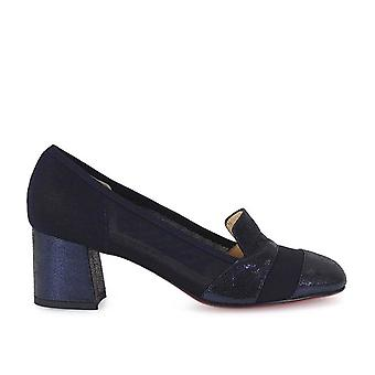 Franco Colli ladies FC1081 Blau fabric pumps