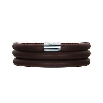 Bracelet Triple tier Charm's brown leather and stainless steel
