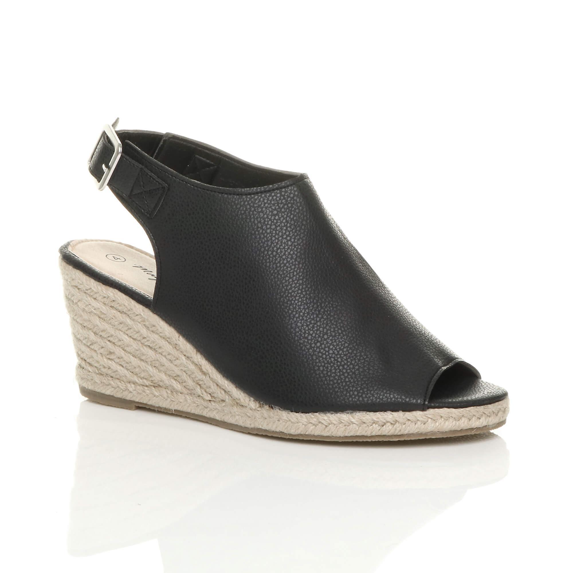 slingback Ajvani wedge sandals toe high booties espadrille heel womens peep mid O1g1Xrnq