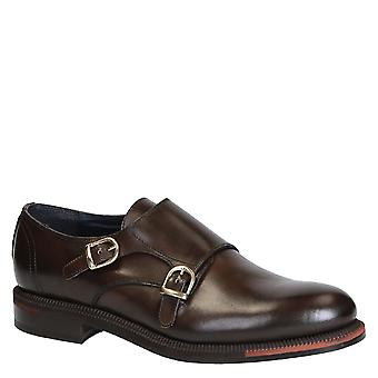 Italian double monk strap shoes Handmade in brown leather