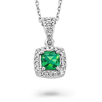 Orphelia Silver 925 Chain With Pendant Princess Zirconium Green  ZH-7199/GR