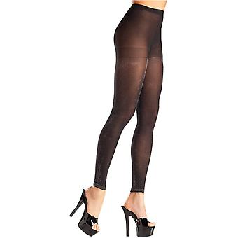 Be Wicked BW697 Opaque black and silver footless pantyhose