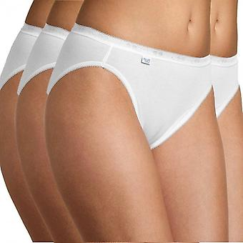 Sloggi Women Basic 4 Pack Tai Brief, White, Size 20