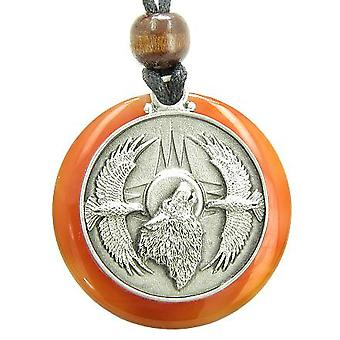Amulet Howling Wolf Eagles Magic Medallion Circle Carnelian Pendant Necklace