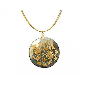 Gemshine Damen Halskette Medaillon Perlmutt Vergoldet Grau Schimmernd