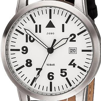 JOBO mænds armbåndsur kvarts analog rustfrit stål læder rem schwarzHerrenuhr dato