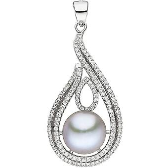 Charm 925 Silver 1 grey Freshwater Pearl with cubic zirconia beads pendant