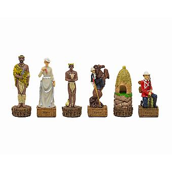 The British Vs Zulus Hand painted themed chess pieces by Italfama