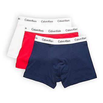 Calvin Klein 3 Pack Cotton Stretch Trunks - Red/Blue/White