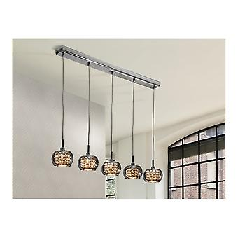 Schuller Art Deco Shimmered Crystal Dome LED Ceiling 5 Light Pendant