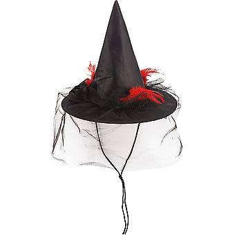 Feathers witch Hat cord black accessory Hat Carnival Halloween witch veil