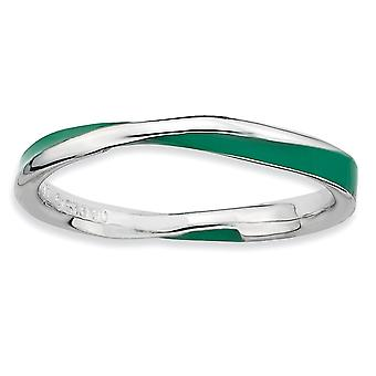 Sterling Silver Polished Rhodium-plated Twisted Green Enameled 2.5 x 2.25mm Stackable Ring - Ring Size: 5 to 10
