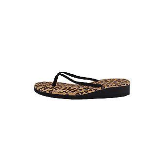LMS Black Flat Flip Flops With Leopard Print Sole