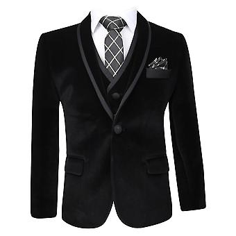 Boys Black Velvet Tuxedo Suit Sets