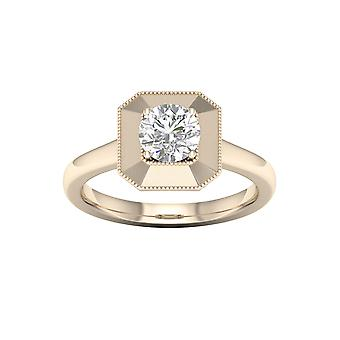 DE COUER 3/4Ct TDW Diamond 14k Yellow Gold Solitaire Engagement Ring (I-J, I2)