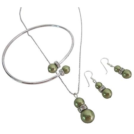 Budget-Priced Bridesmaid Green Dress Jewelry w/ Rhinestones Rings