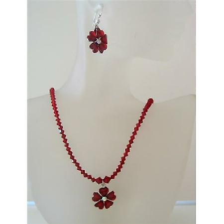 Romantic Siam Red Swrovski Crystals Necklace Set w/ Flower Crystals Pendant Jewelry Set