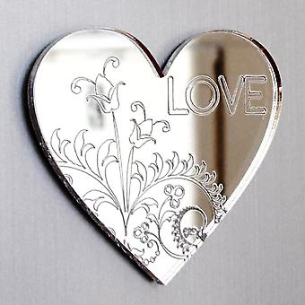 Floral Engraved Love Text Heart Acrylic Mirror