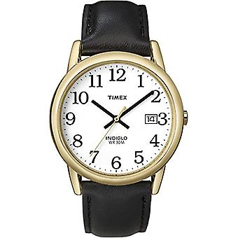Timex T2H291 wrist watch, men's analogue dial, black leather strap, white/gold/black