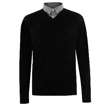 Pierre Cardin Mens Mock V Neck Jumper Sweater Pullover Lightweight Fold Down