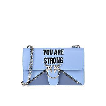 Pinko Love Strong Light Blue Leather Shoulder Bag
