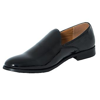Dobell Mens Black Dress Shoes Patent Slip-On