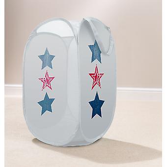 Country Club Kids Pop Up tvättkorg, blå & röda stjärnor