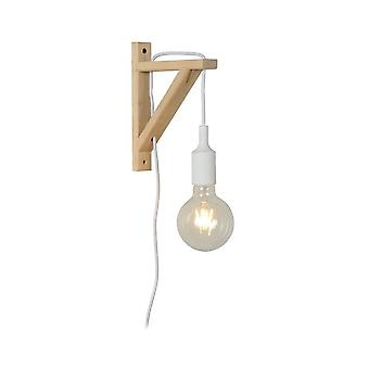 Lucide Fix Wall Modern Triangle Wood White And Light Wood Wall Light
