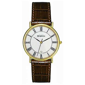 Michel Herbelin Mens PVD Gold Plated, Brown Leather 12443/P08GO Watch