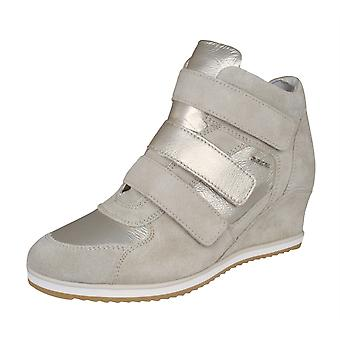Womens Geox Trainers D Illusion D Suede Wedge Boots - Taupe