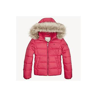 Tommy Hilfiger Girls Pink Basic Down Hooded Puffer Chaqueta