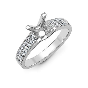 Jewelco London Solid 18ct White Gold Pave Set Round G SI1 0.43ct Diamond Semi Set Mount Engagement Ring 6.5mm