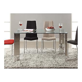 Schuller Malibu Glass Top Dining Table, Steel 4 Poster Leg