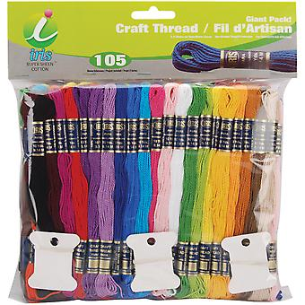 Craft Thread Giant Pak 9.14 Meters 105 Pkg Assorted Colors 1245