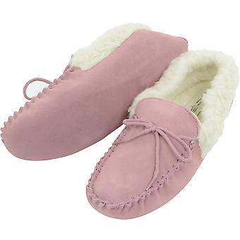 Ladies Pink Moccasin Slipper Soft Sole