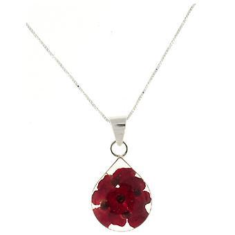 Shrieking Violet Sterling Silver Red Poppy Flower Teardrop Pendant